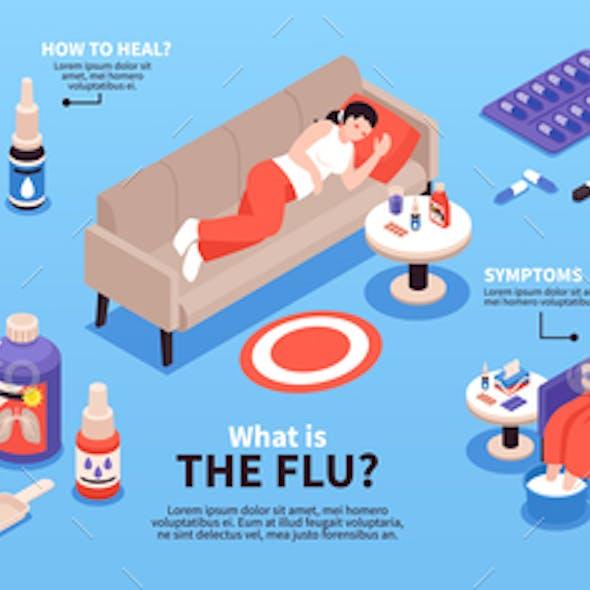 Cold Flu Isometric Infographics