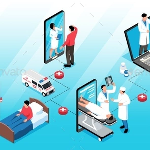 Online Medicine Isometric Infographics