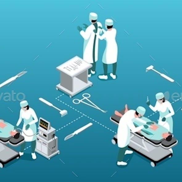 Isometric Surgeon Infographics