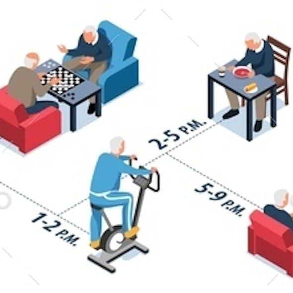 Nursing Home Isometric Infographics