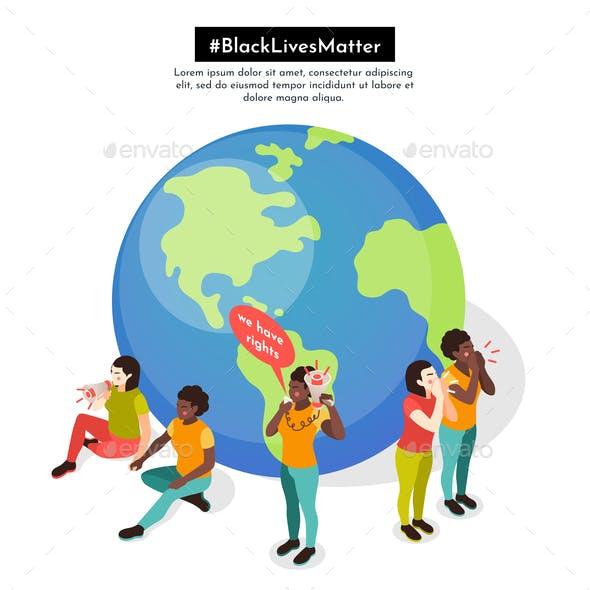 Black Lives Matter Isometric Background