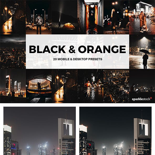20 Black & Orange Lightroom Presets and LUTs
