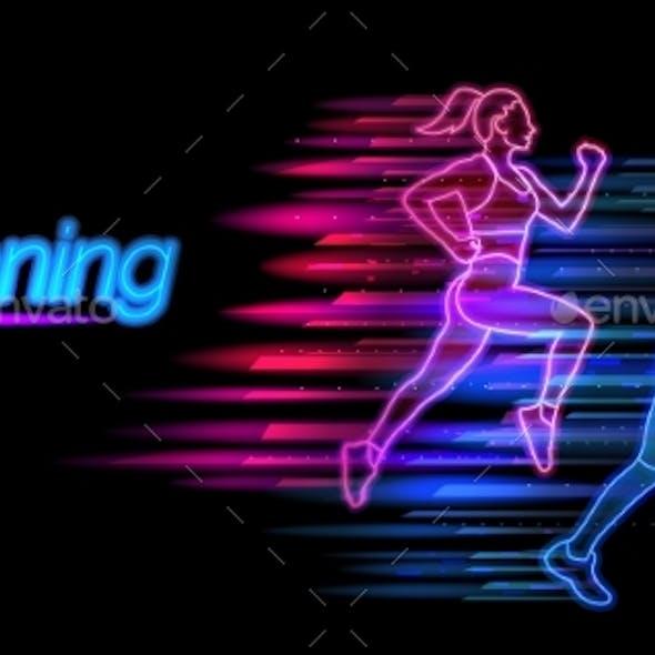 Running Neon Light Landing Page Template