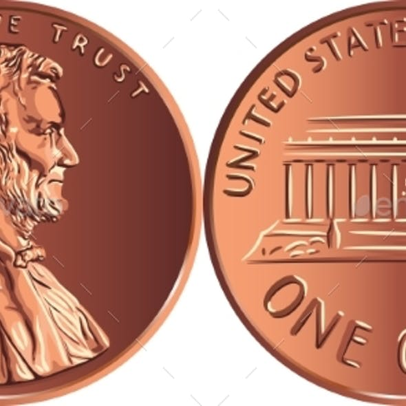 Vector American Money One Cent Penny