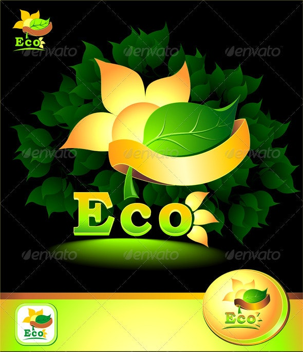 Eco concept with leaves, sun, petals, ribbon - Nature Conceptual