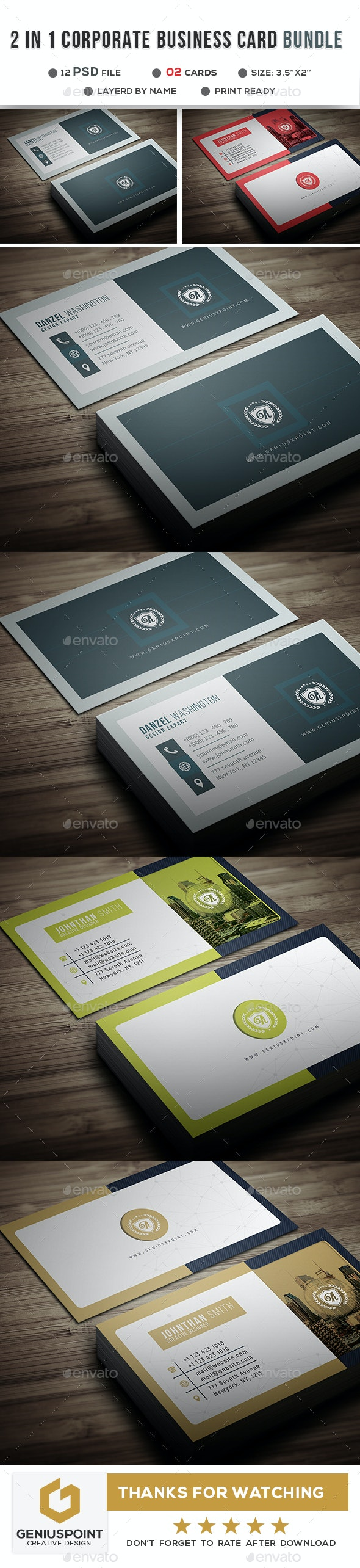 2 in1 Corporate Business Card Bundle - Business Cards Print Templates
