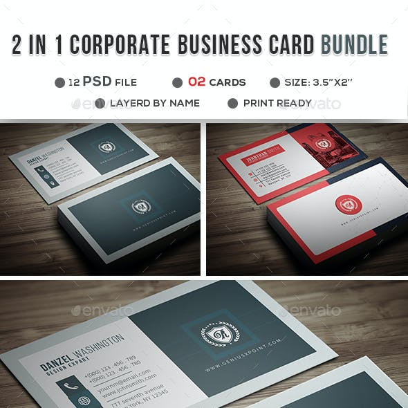 2 in1 Corporate Business Card Bundle