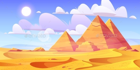 Egyptian Desert with Ancient Pyramids - Landscapes Nature