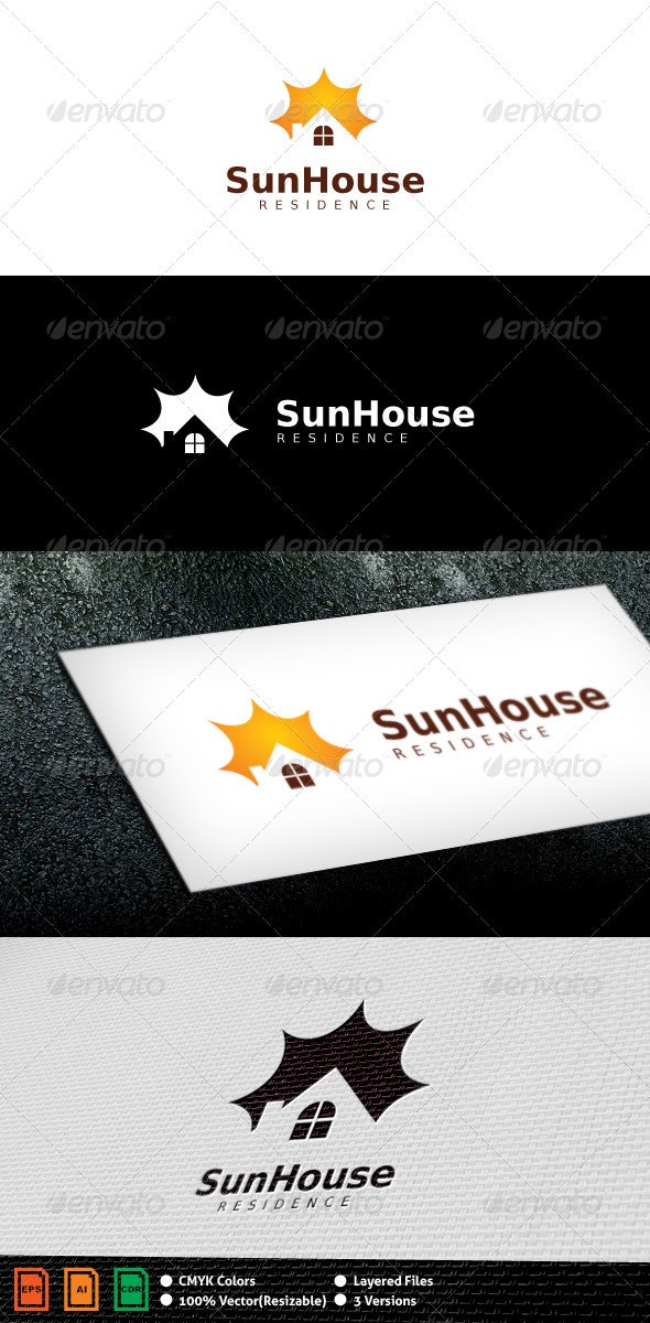 Sun House Logo Template - Buildings Logo Templates