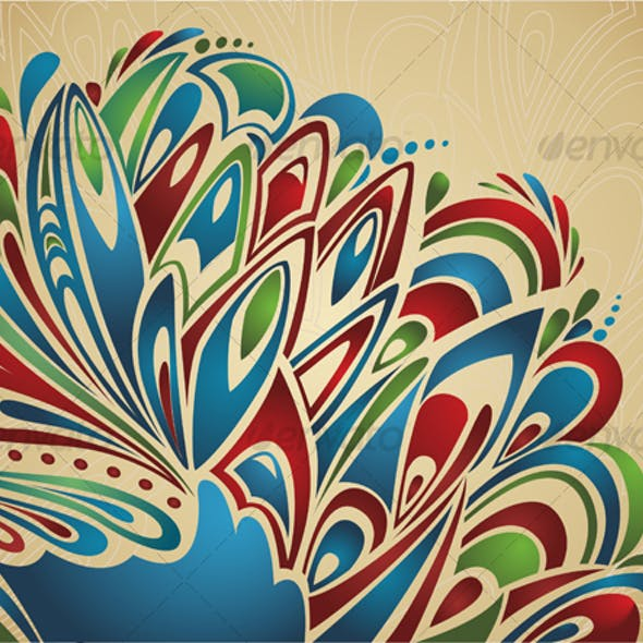 Artistic background with abstract feathers