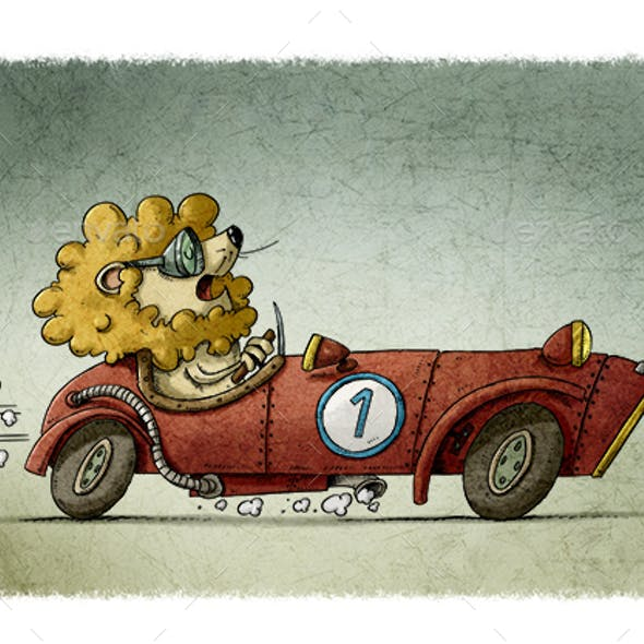 Lion Driving an Old Racing Car