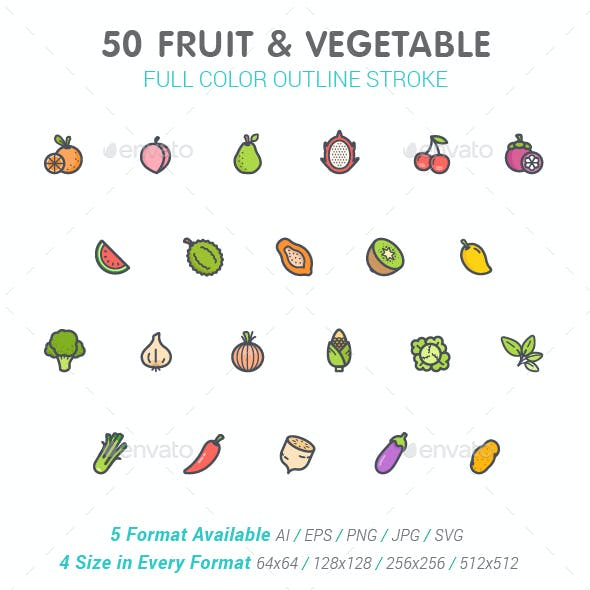 50 Fruit & Vegetable Color Icons