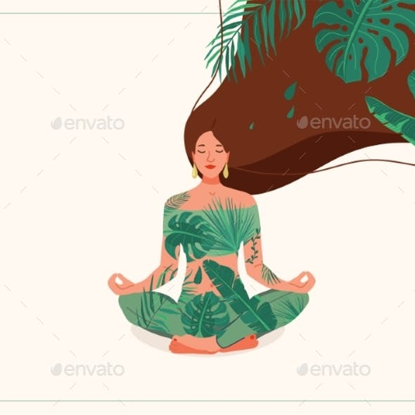 Mind Wellness Vector Illustration. Young Woman