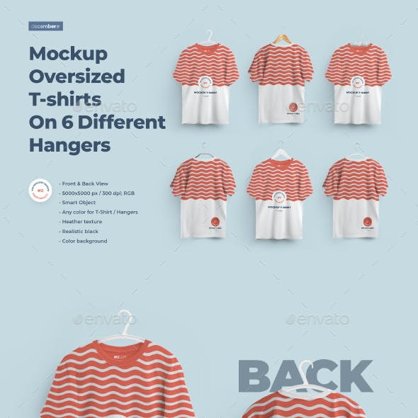 2 Mockups Oversized T-shirts On 6 Different Hangers