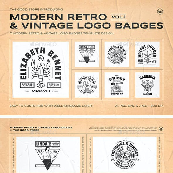 Retro Logo Badges Set Vol.1