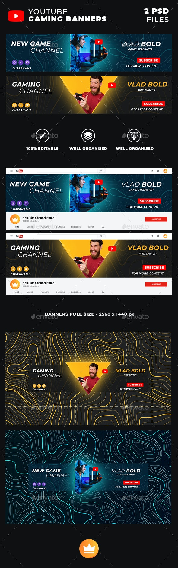 Stylish Gaming Youtube Banners / Covers - YouTube Social Media