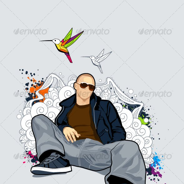 Bald man on abstract vector background