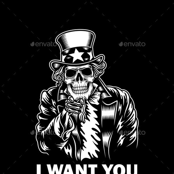 Uncle Sam Skull Vector Illustration