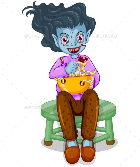 Zombie Eating Food Cartoon By Rameshwar03h Graphicriver