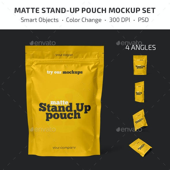 Matte Stand-Up Pouch Mockup Set
