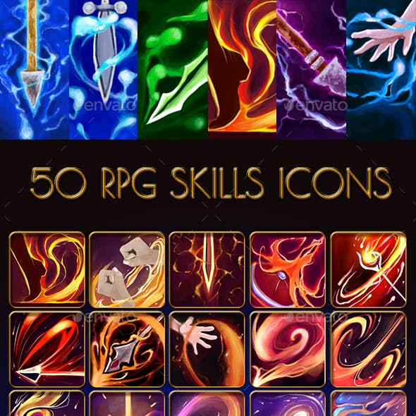 50 Icons of Magic Skills and Abilities for RPG