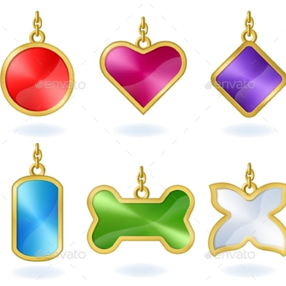 Realistic Multicolored Metal Tags with Golden