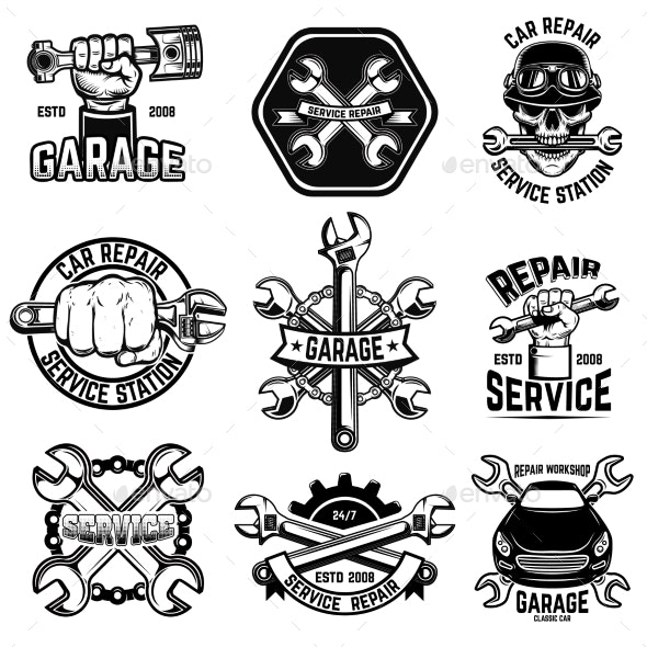 Set of Car Repair Workshop Emblems - Man-made Objects Objects