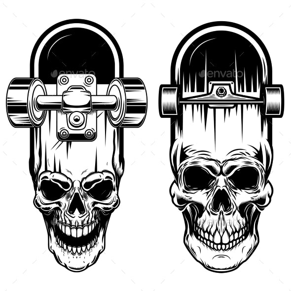 Illustration of Skateboard with Skull - Miscellaneous Vectors