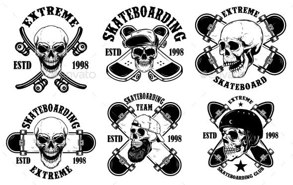Set of Skateboarding Club Emblems with Skulls - Miscellaneous Vectors