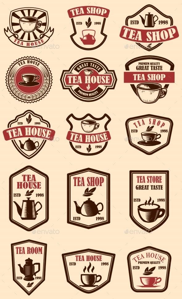 Set of Vintage Tea House Labels. Design Element - Miscellaneous Vectors