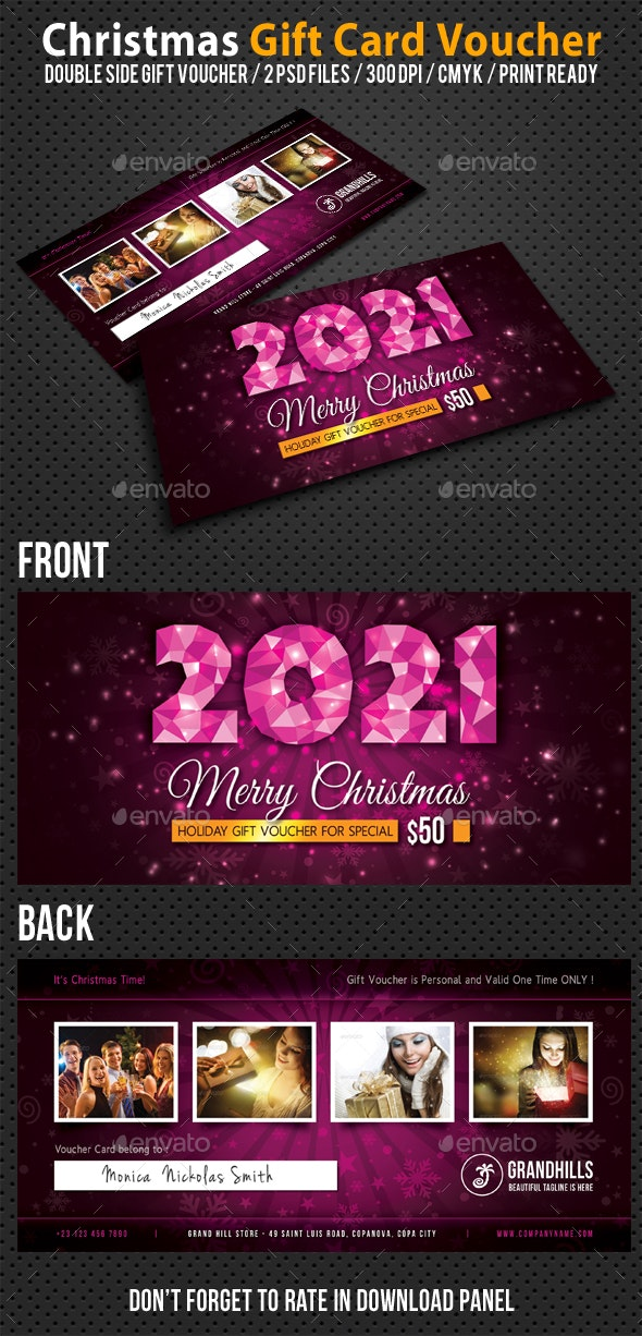 Christmas Holidays Gift Voucher V03 - Cards & Invites Print Templates