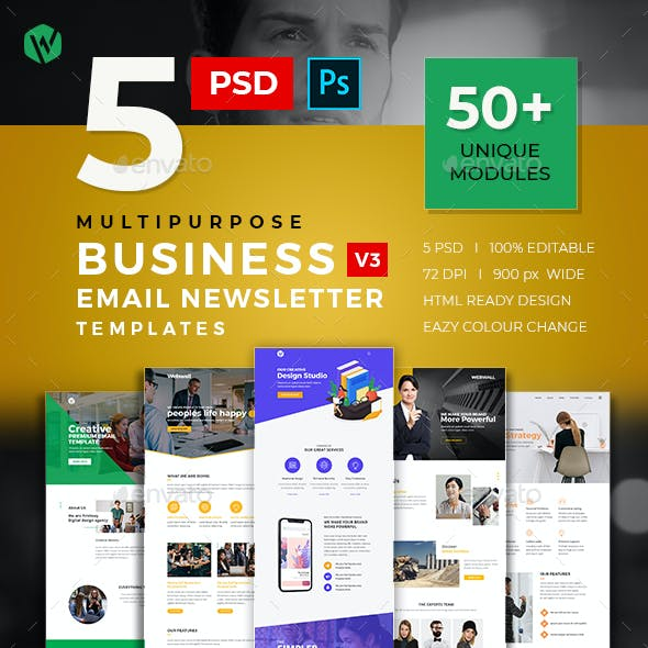 5 Business Email Newsletter PSD Templates v3