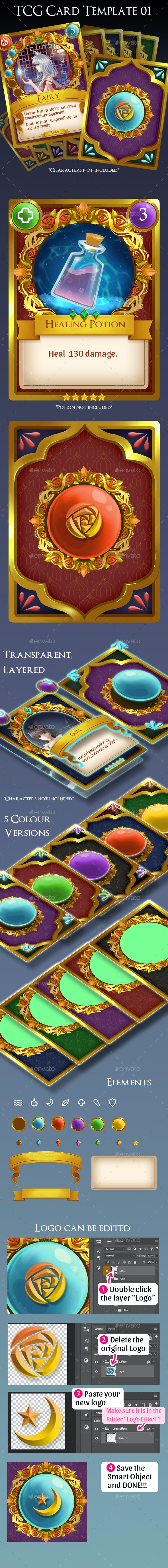TCG Card Template 01 - Miscellaneous Game Assets