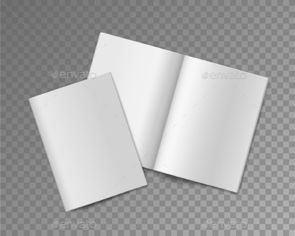 Soft Cover Books. Opened and Closed Empty Booklet - Backgrounds Decorative