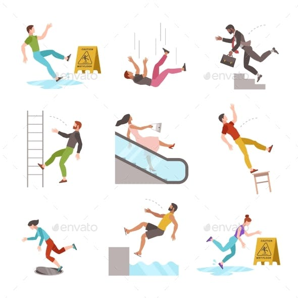 Falling People. Fall Down Stairs, Slipping Wet