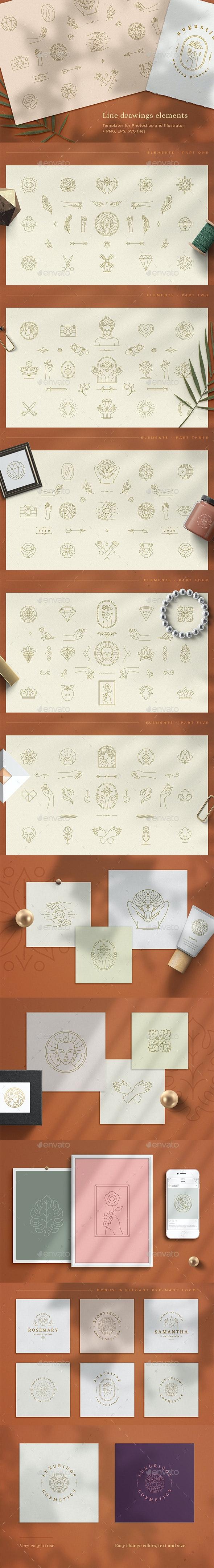 Logo Line Elements Collection - Decorative Symbols Decorative