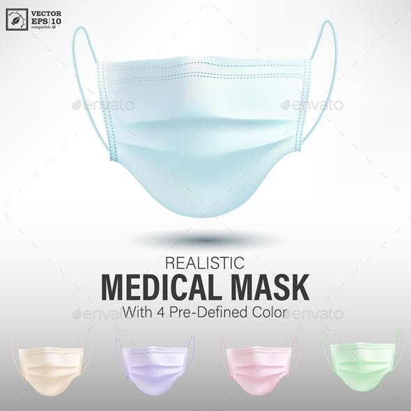 Realistic Medical Mask with 4 Predefined Color