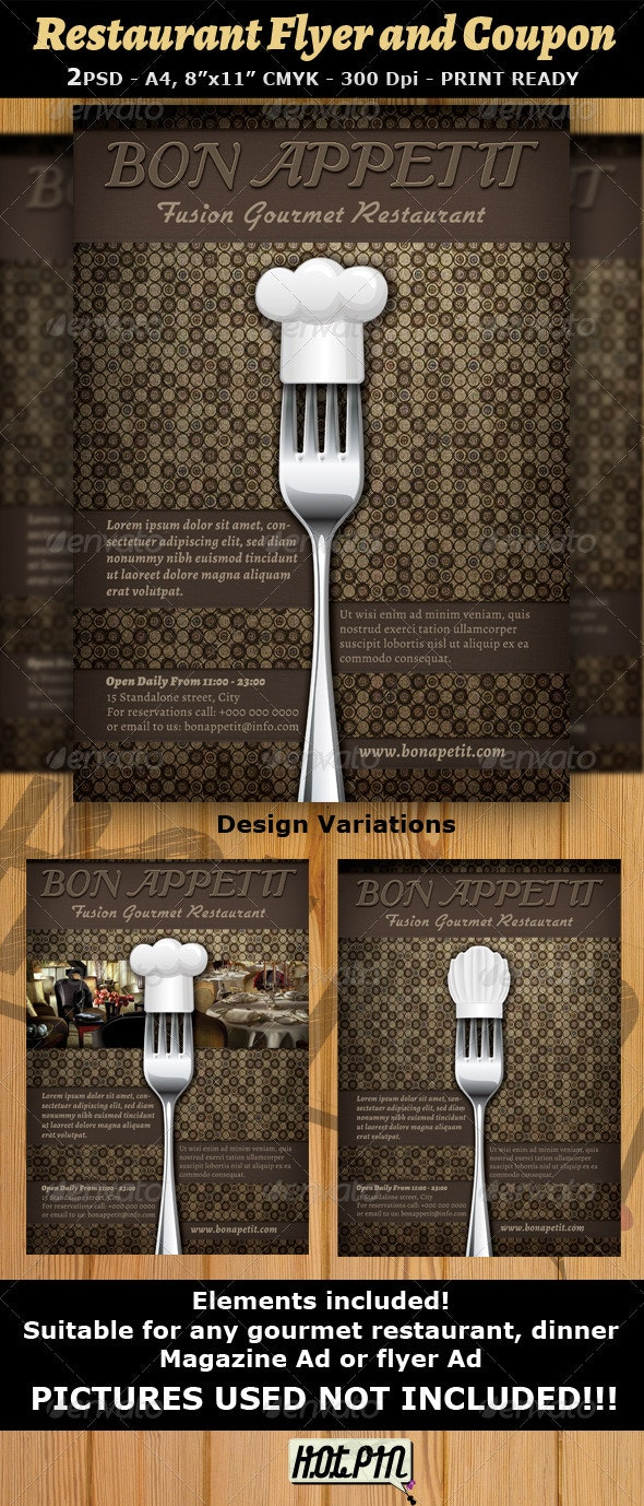 Restaurant Magazine Ad or Flyer Template v7 - Restaurant Flyers