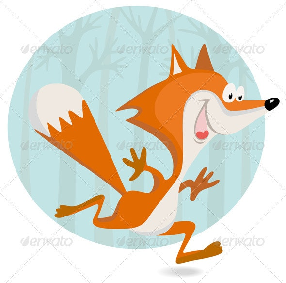 Cartoon Little Fox In The Forest - Animals Characters