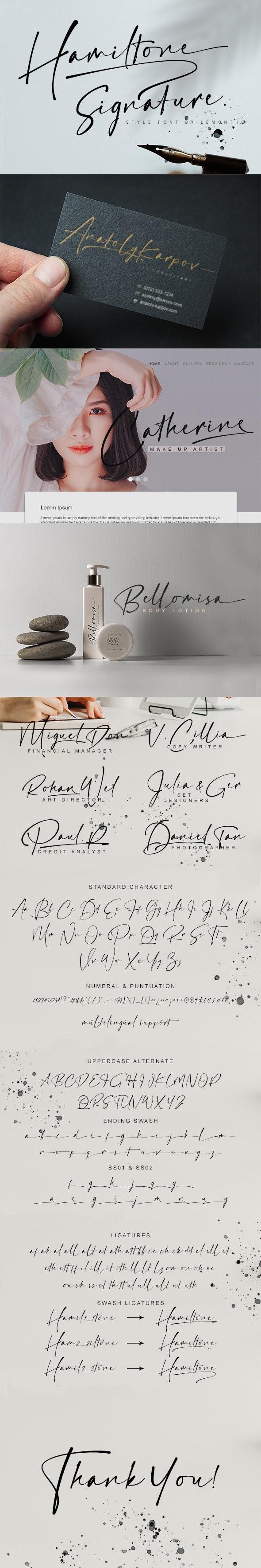 Hamiltone | Signature Font - Calligraphy Script