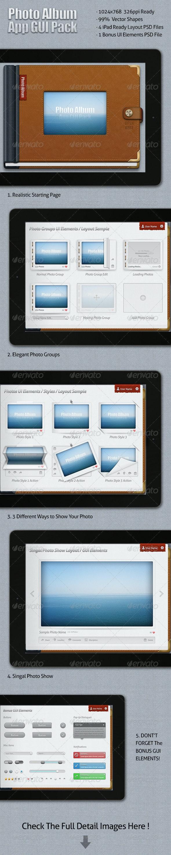 Photo Album App GUI Pack - User Interfaces Web Elements