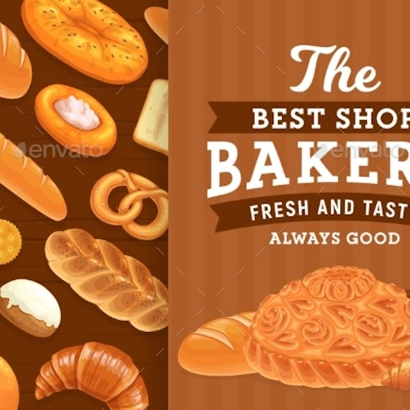 Bakery, Pastry and Bread Vector Poster