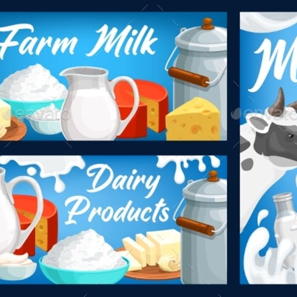 Dairy and Milk Farm Products Vector Banners