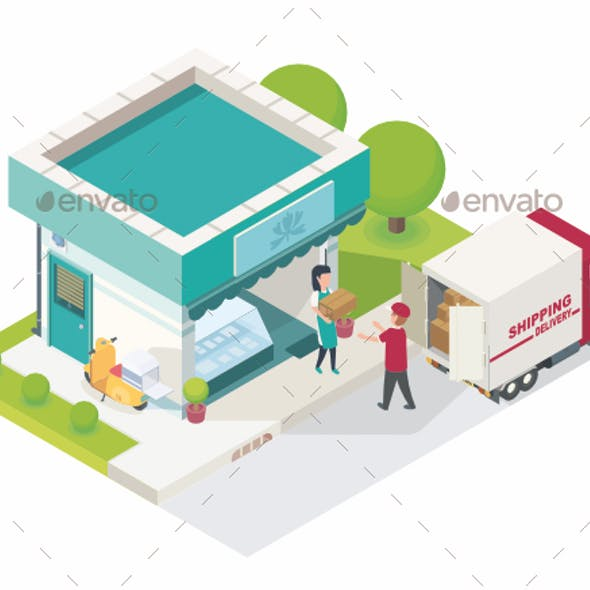 Small Shop Shipping Product Isometric Vector