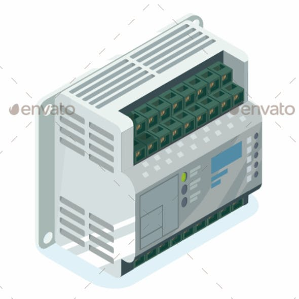 PLC Factory Logic Controller Isometric Vector