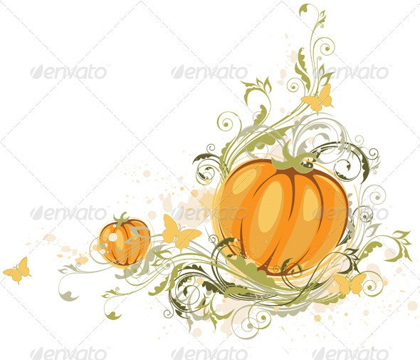Halloween Pumpkin and Floral Ornament - Halloween Seasons/Holidays