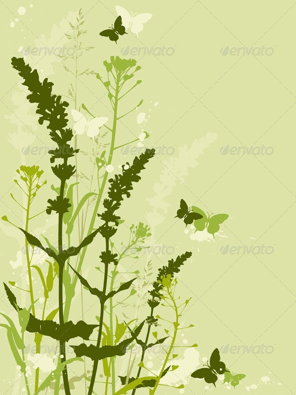 Green Floral Background with Grass