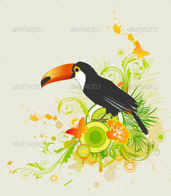 Summer Background with Ornament and Parrot - Animals Characters