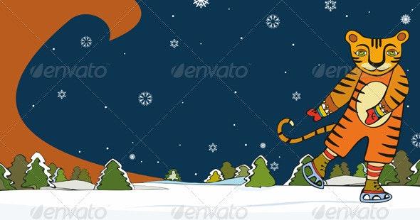 Tiger Skater Winter - Seasons/Holidays Conceptual