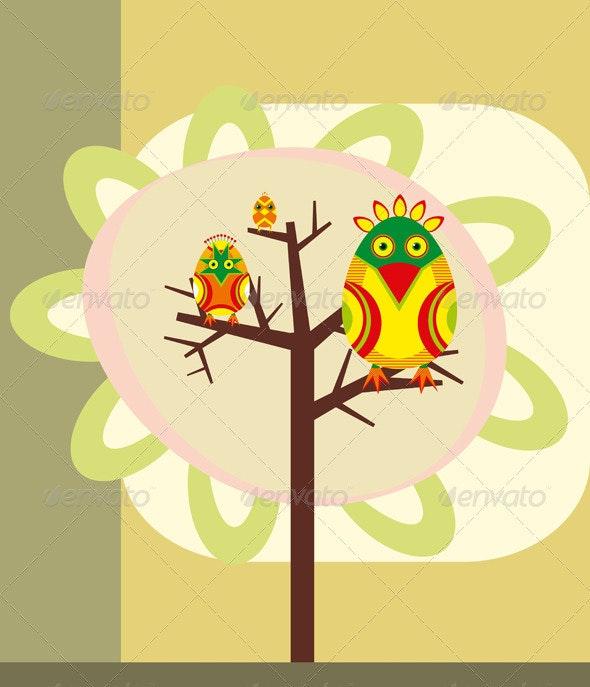 Birds on a Tree Branch  - Decorative Vectors